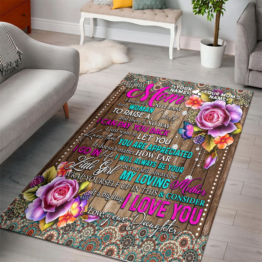 Personalized Lovely To My Mom From Daughter Let You Know That You Are Appreciated Pattern 2 Vintage Area Rug Anti-Skid Floor Carpet For Living Room Dinning Room Bedroom Office