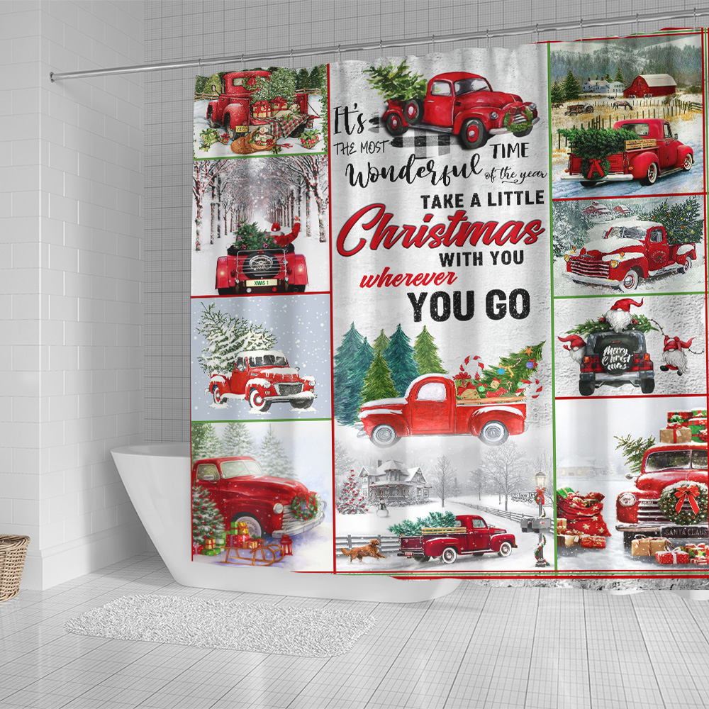 Personalized Shower Curtain 71 X 71 Inch Take A Little Christmas With You Wherever You Go Pattern 1 Set 12 Hooks Decorative Bath Modern Bathroom Accessories Machine Washable