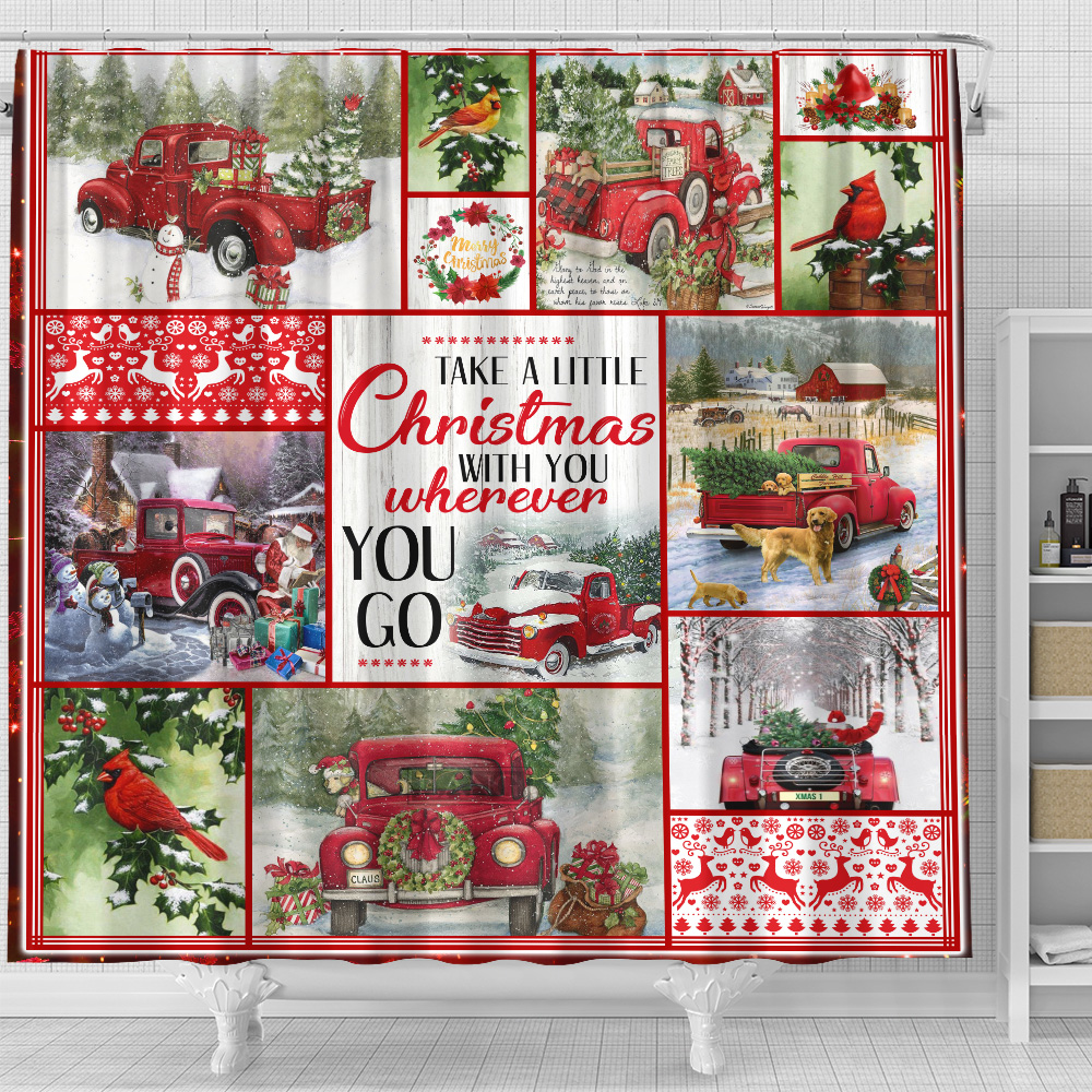 Personalized Shower Curtain 71 X 71 Inch Take A Little Christmas With You Wherever You Go Pattern 2 Set 12 Hooks Decorative Bath Modern Bathroom Accessories Machine Washable