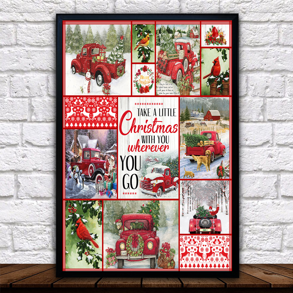 Personalized Wall Art Poster Canvas 1 Panel Take A Little Christmas With You Wherever You Go Pattern 2 Great Idea For Living Home Decorations Birthday Christmas Aniversary