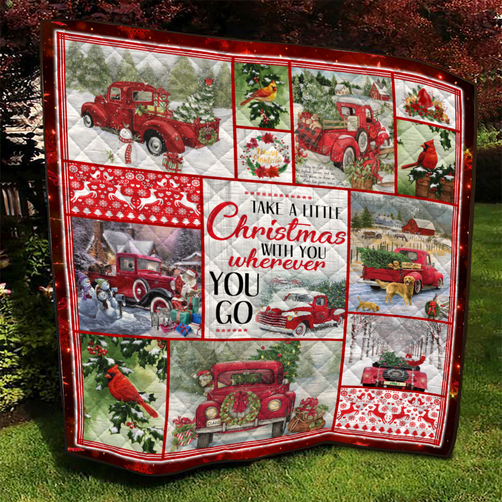 Personalized Quilt Throw Blanket Take A Little Christmas With You Wherever You Go Pattern 2 Lightweight Super Soft Cozy For Decorative Couch Sofa Bed