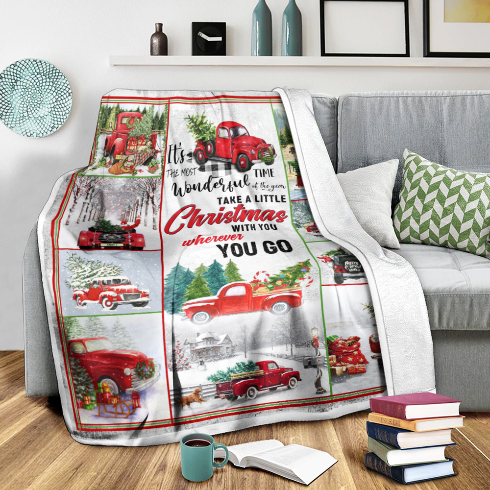 Personalized Fleece Throw Blanket Take A Little Christmas With You Wherever You Go Pattern 1 Lightweight Super Soft Cozy For Decorative Couch Sofa Bed