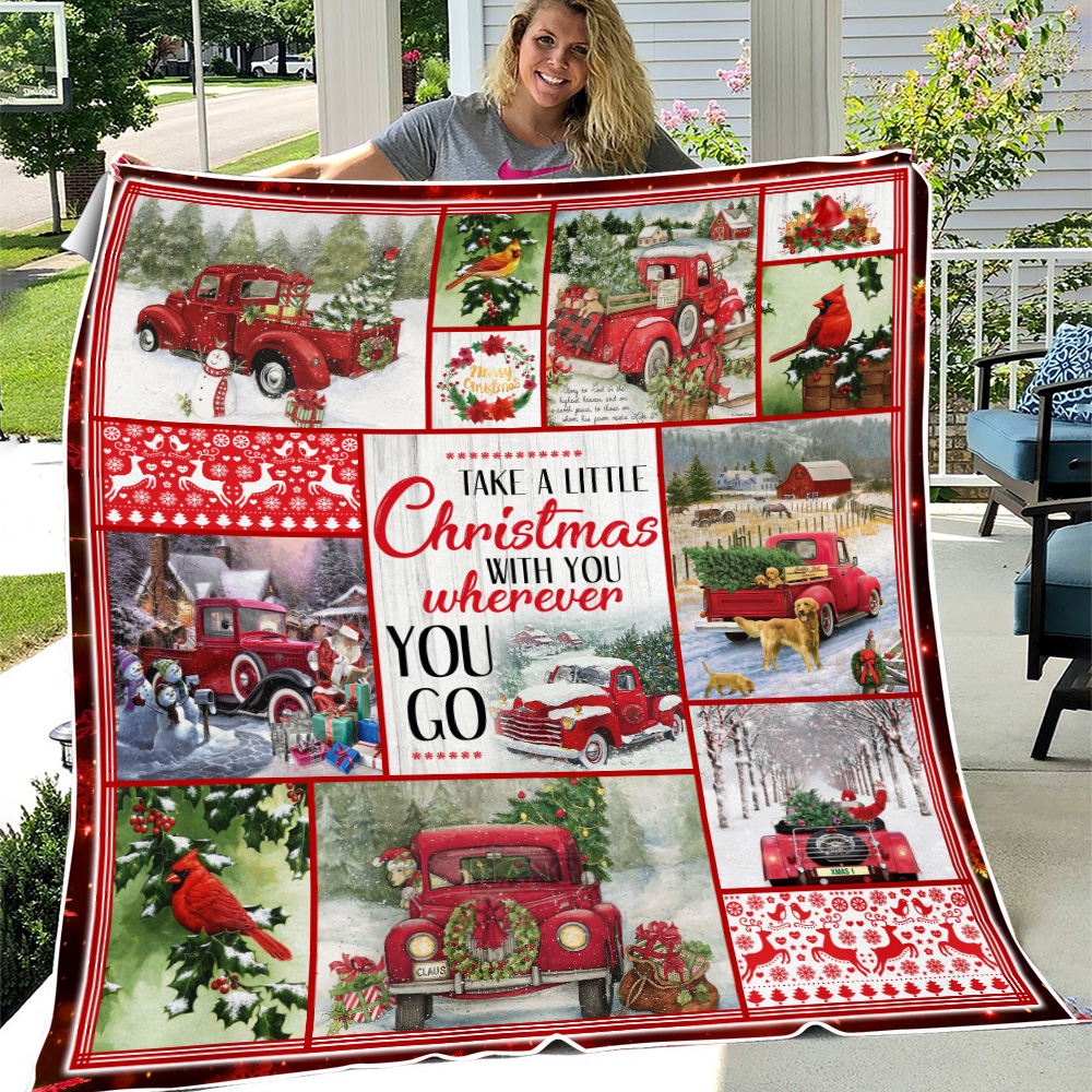 Personalized Fleece Throw Blanket Take A Little Christmas With You Wherever You Go Pattern 2 Lightweight Super Soft Cozy For Decorative Couch Sofa Bed
