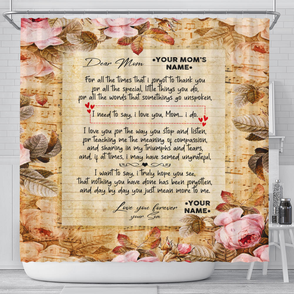 Personalized Shower Curtain 71 X 71 Inch Day By Day You Just Mean More To Me Pattern 2 Set 12 Hooks Decorative Bath Modern Bathroom Accessories Machine Washable
