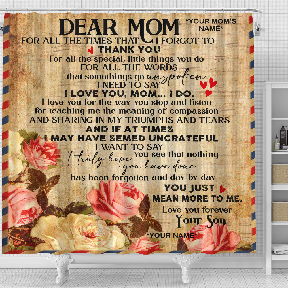 Personalized Shower Curtain 71 X 71 Inch Day By Day You Just Mean More To Me Pattern 1 Set 12 Hooks Decorative Bath Modern Bathroom Accessories Machine Washable