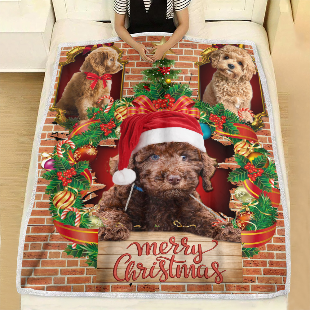 Personalized Fleece Throw Blanket Merry Christmas Goldendoodle Pattern 1 Lightweight Super Soft Cozy For Decorative Couch Sofa Bed