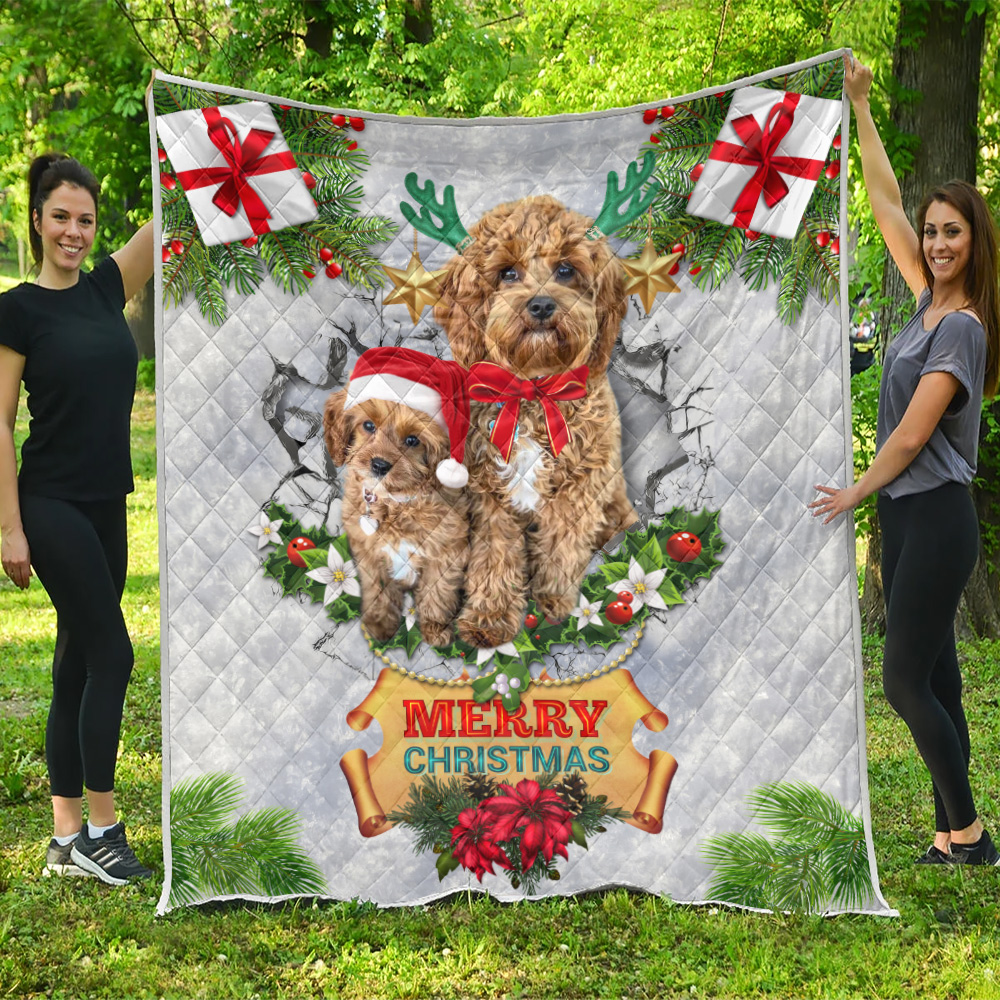 Personalized Quilt Throw Blanket Merry Christmas Goldendoodle Pattern 2 Lightweight Super Soft Cozy For Decorative Couch Sofa Bed