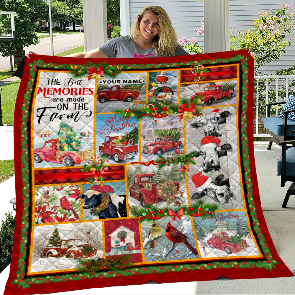 Personalized Quilt Throw Blanket The Best Memories Are Made On The Farm Pattern 2 Lightweight Super Soft Cozy For Decorative Couch Sofa Bed