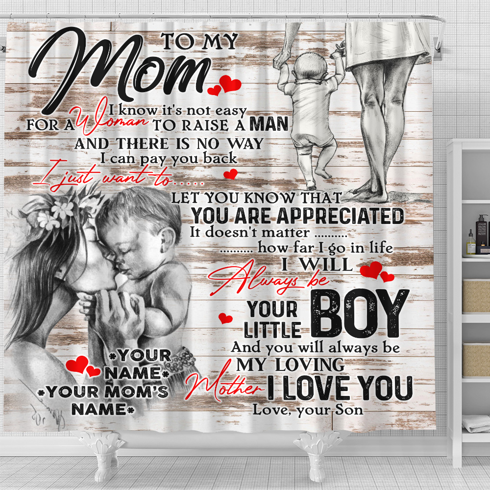 Personalized Lovely Shower Curtain To My Mom From Son Let You Know That You Are Appreciated Pattern 2 Set 12 Hooks Decorative Bath Modern Bathroom Accessories Machine Washable