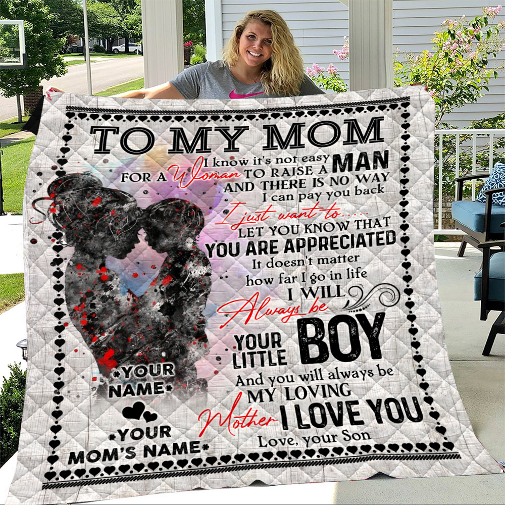 Personalized Lovely Quilt Throw Blanket To My Mom From Son Let You Know That You Are Appreciated Pattern 1 Lightweight Super Soft Cozy For Decorative Couch Sofa Bed