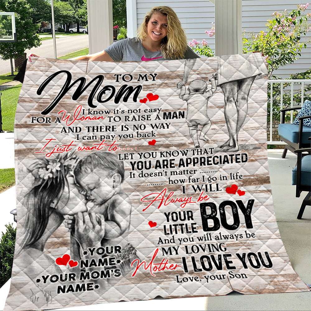 Personalized Lovely Quilt Throw Blanket To My Mom From Son Let You Know That You Are Appreciated Pattern 2 Lightweight Super Soft Cozy For Decorative Couch Sofa Bed