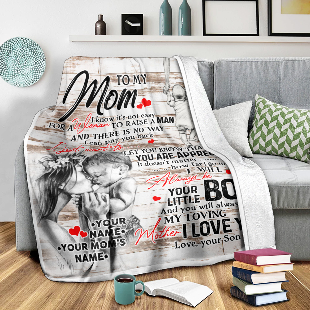 Personalized Lovely Fleece Throw Blanket To My Mom From Son Let You Know That You Are Appreciated Pattern 2 Lightweight Super Soft Cozy For Decorative Couch Sofa Bed