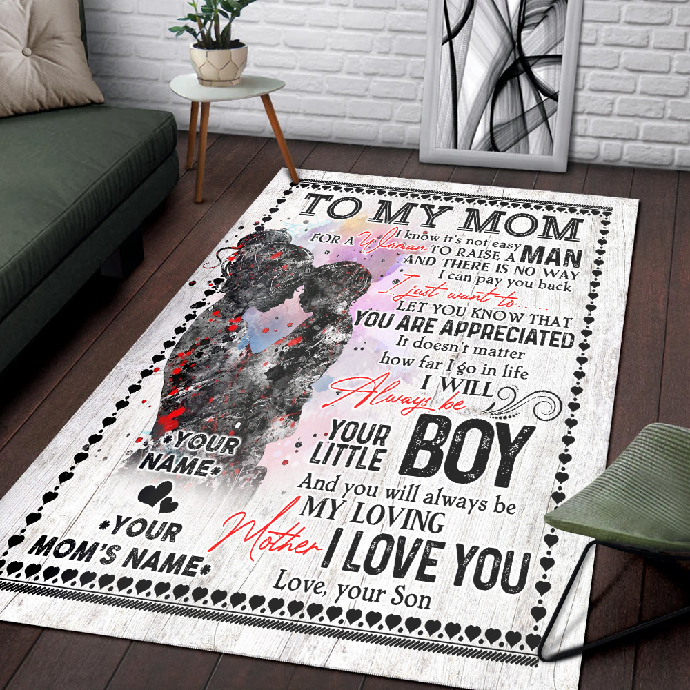 Personalized Lovely To My Mom From Son Let You Know That You Are Appreciated Pattern 1 Vintage Area Rug Anti-Skid Floor Carpet For Living Room Dinning Room Bedroom Office