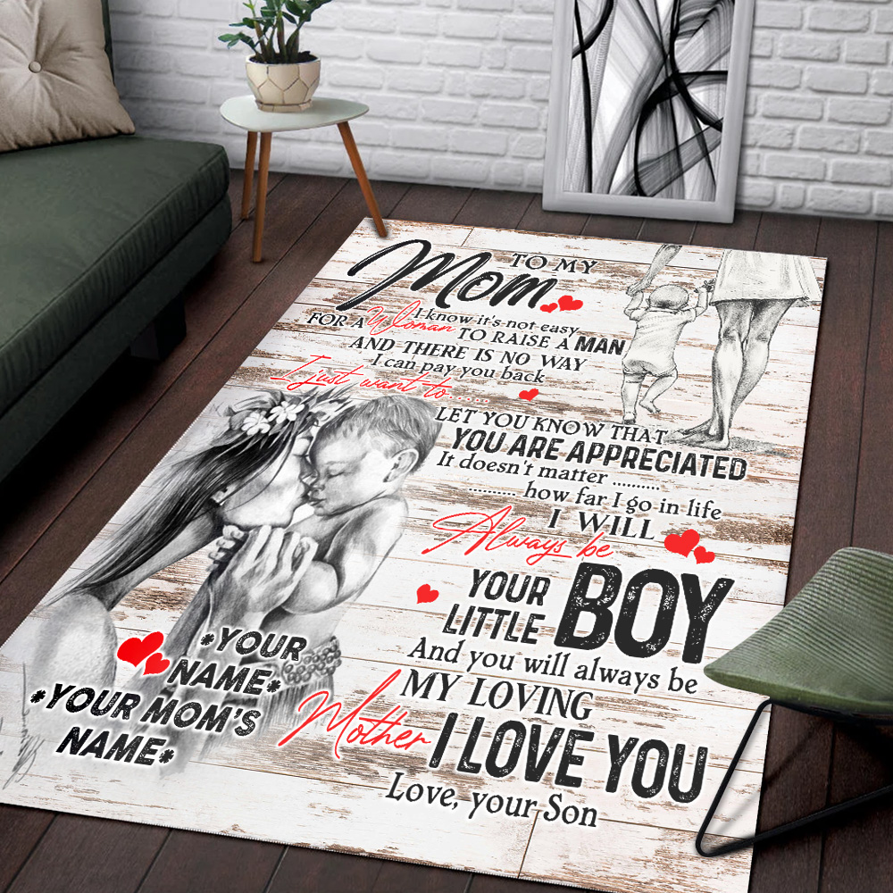 Personalized Lovely To My Mom From Son Let You Know That You Are Appreciated Pattern 2 Vintage Area Rug Anti-Skid Floor Carpet For Living Room Dinning Room Bedroom Office