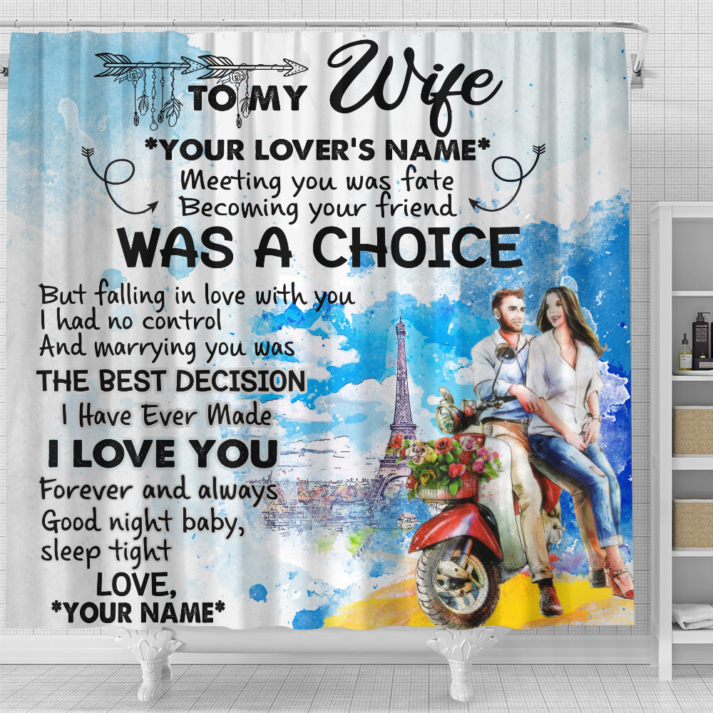 Personalized Shower Curtain 71 X 71 Inch To My Wife I Love You Forever And Always Pattern 2 Set 12 Hooks Decorative Bath Modern Bathroom Accessories Machine Washable