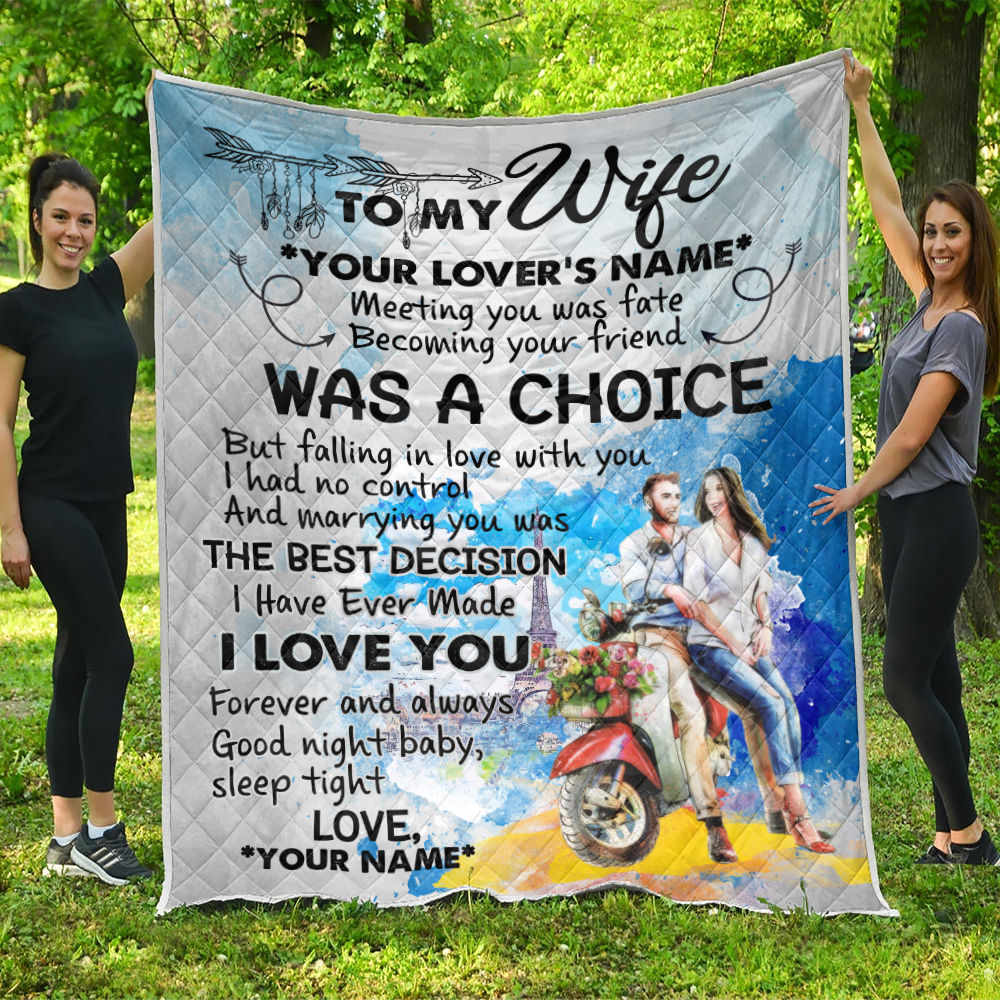 Personalized Quilt Throw Blanket To My Wife I Love You Forever And Always Pattern 2 Lightweight Super Soft Cozy For Decorative Couch Sofa Bed