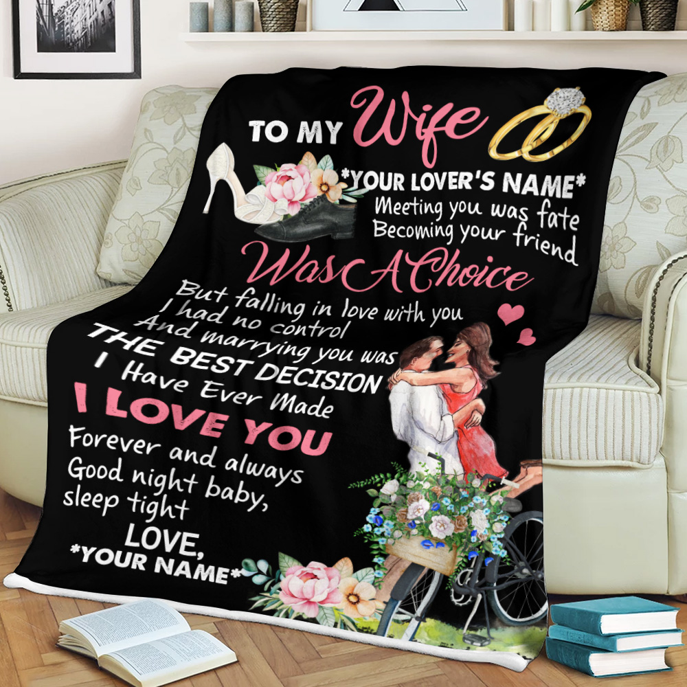 Personalized Fleece Throw Blanket To My Wife I Love You Forever And Always Pattern 1 Lightweight Super Soft Cozy For Decorative Couch Sofa Bed