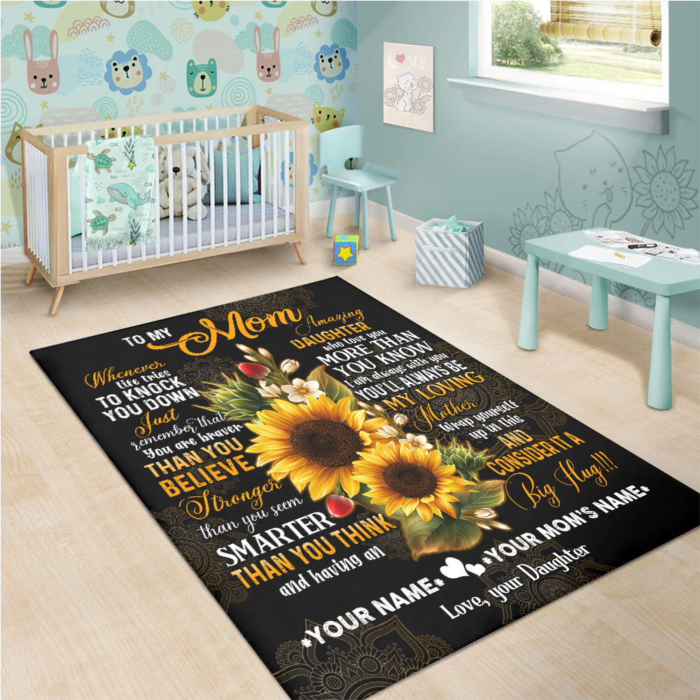 Personalized Lovely To My Mom I Am Always With You Pattern 1 Vintage Area Rug Anti-Skid Floor Carpet For Living Room Dinning Room Bedroom Office