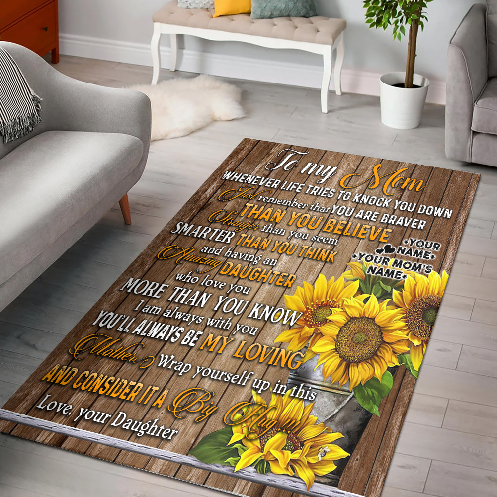 Personalized Lovely To My Mom I Am Always With You Pattern 2 Vintage Area Rug Anti-Skid Floor Carpet For Living Room Dinning Room Bedroom Office