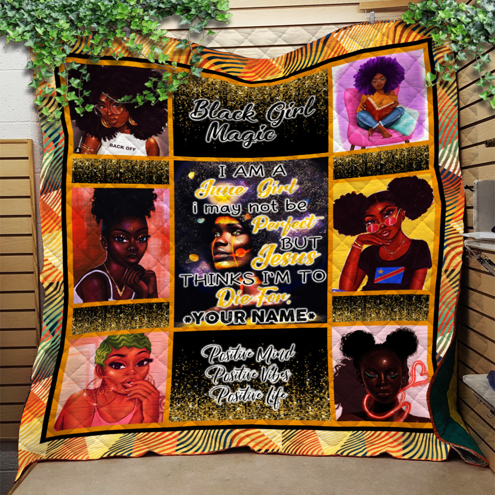 Personalized Quilt Throw Blanket I'm A June Girl I May Not Be Perfect But Jesus Thinks I'm To Die For Pattern 1 Lightweight Super Soft Cozy For Decorative Couch Sofa Bed