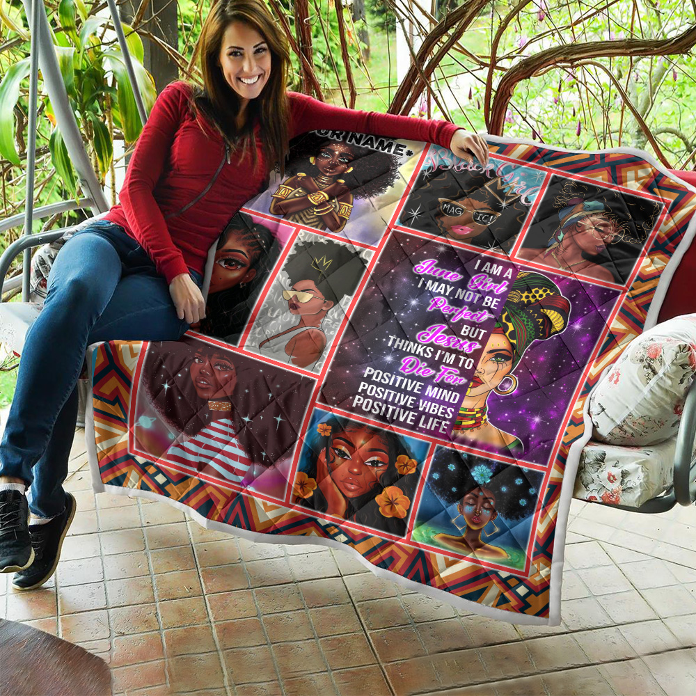 Personalized Quilt Throw Blanket I'm A June Girl I May Not Be Perfect But Jesus Thinks I'm To Die For Pattern 2 Lightweight Super Soft Cozy For Decorative Couch Sofa Bed