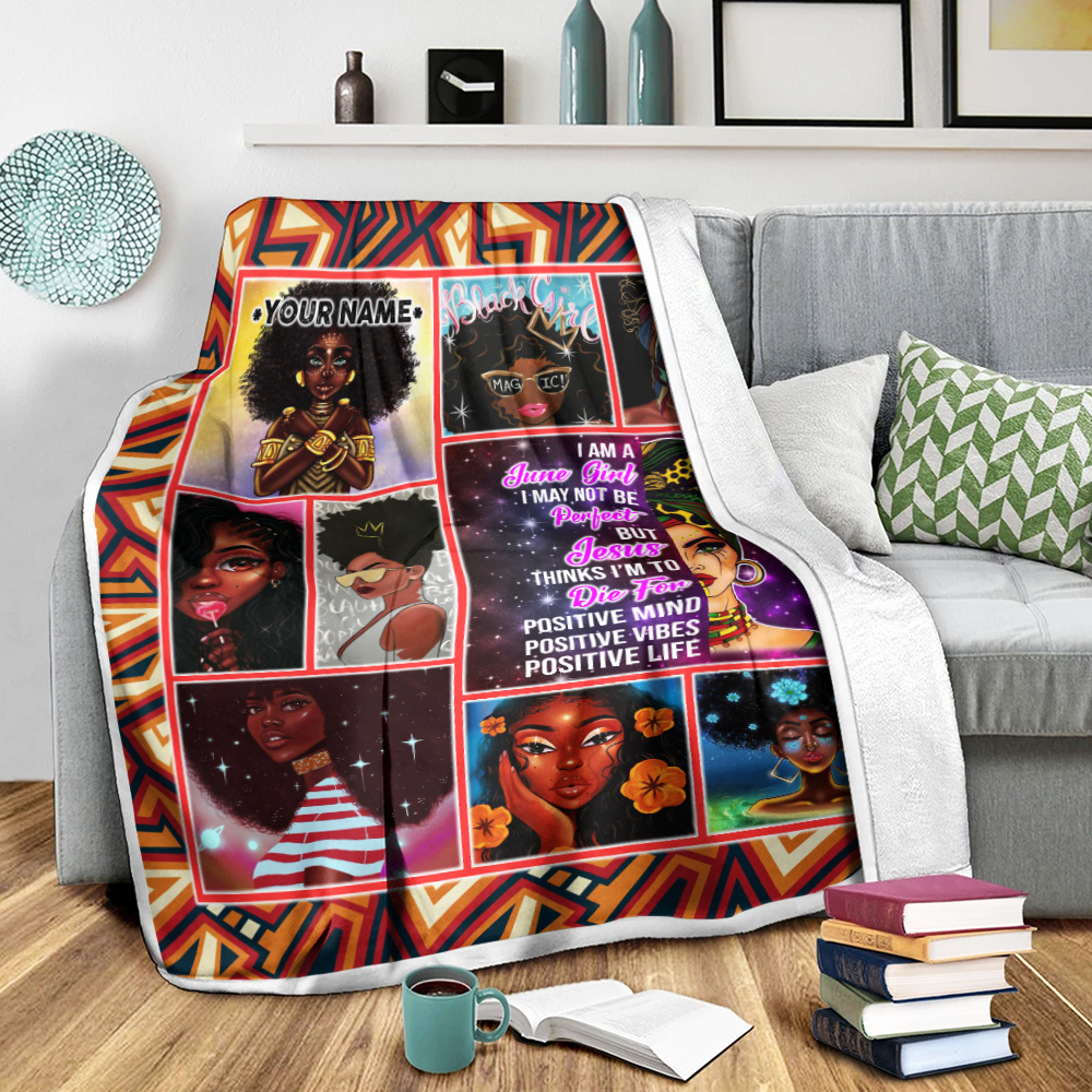 Personalized Fleece Throw Blanket I'm A June Girl I May Not Be Perfect But Jesus Thinks I'm To Die For Pattern 2 Lightweight Super Soft Cozy For Decorative Couch Sofa Bed