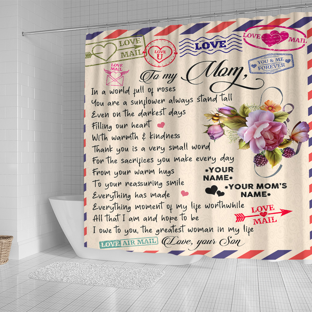 Personalized Lovely Shower Curtain To My Mom The Greatest Woman In My Life Pattern 1 Set 12 Hooks Decorative Bath Modern Bathroom Accessories Machine Washable