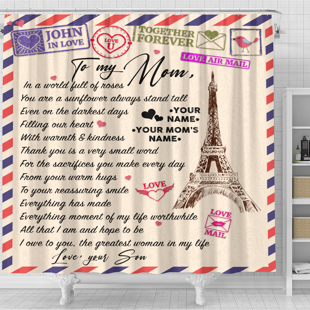 Personalized Lovely Shower Curtain To My Mom The Greatest Woman In My Life Pattern 2 Set 12 Hooks Decorative Bath Modern Bathroom Accessories Machine Washable