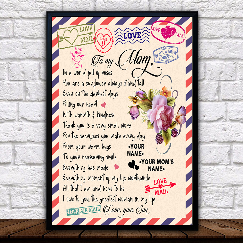 Personalized Lovely Wall Art Poster To My Mom The Greatest Woman In My Life Pattern 1 Prints Decoracion Wall Art Picture Living Room Wall