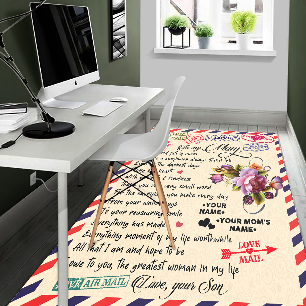 Personalized Lovely To My Mom The Greatest Woman In My Life Pattern 1 Vintage Area Rug Anti-Skid Floor Carpet For Living Room Dinning Room Bedroom Office