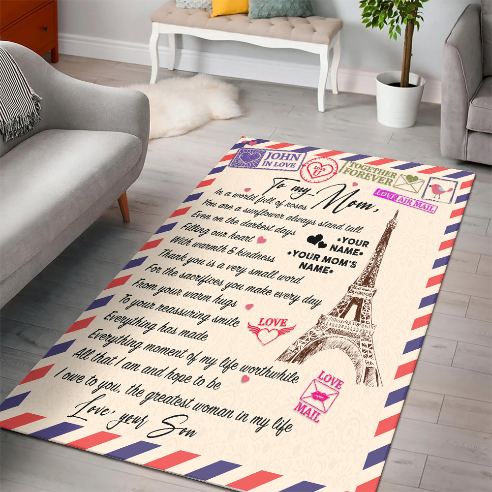 Personalized Lovely To My Mom The Greatest Woman In My Life Pattern 2 Vintage Area Rug Anti-Skid Floor Carpet For Living Room Dinning Room Bedroom Office