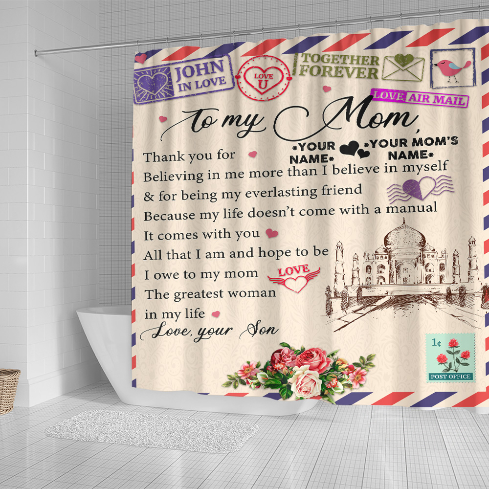 Personalized Lovely Shower Curtain To My Mom Thank You For Believing Me Pattern 1 Set 12 Hooks Decorative Bath Modern Bathroom Accessories Machine Washable