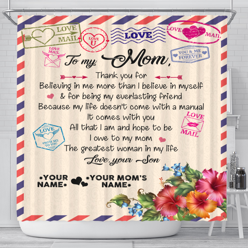 Personalized Lovely Shower Curtain To My Mom Thank You For Believing Me Pattern 2 Set 12 Hooks Decorative Bath Modern Bathroom Accessories Machine Washable