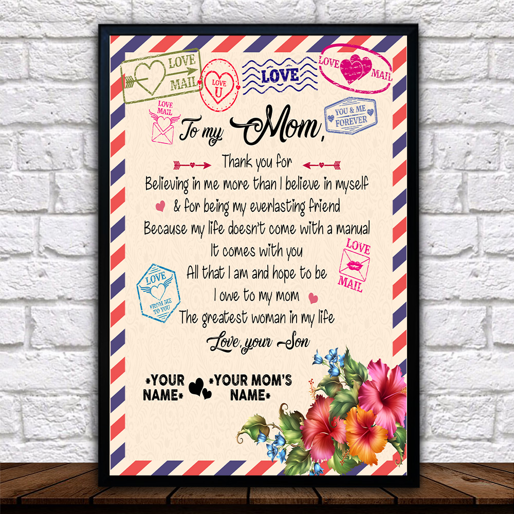 Personalized Lovely Wall Art Poster To My Mom Thank You For Believing Me Pattern 2 Prints Decoracion Wall Art Picture Living Room Wall