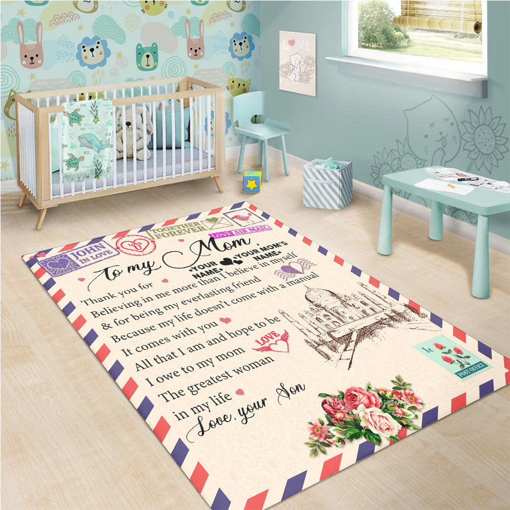 Personalized Lovely To My Mom Thank You For Believing Me Pattern 1 Vintage Area Rug Anti-Skid Floor Carpet For Living Room Dinning Room Bedroom Office