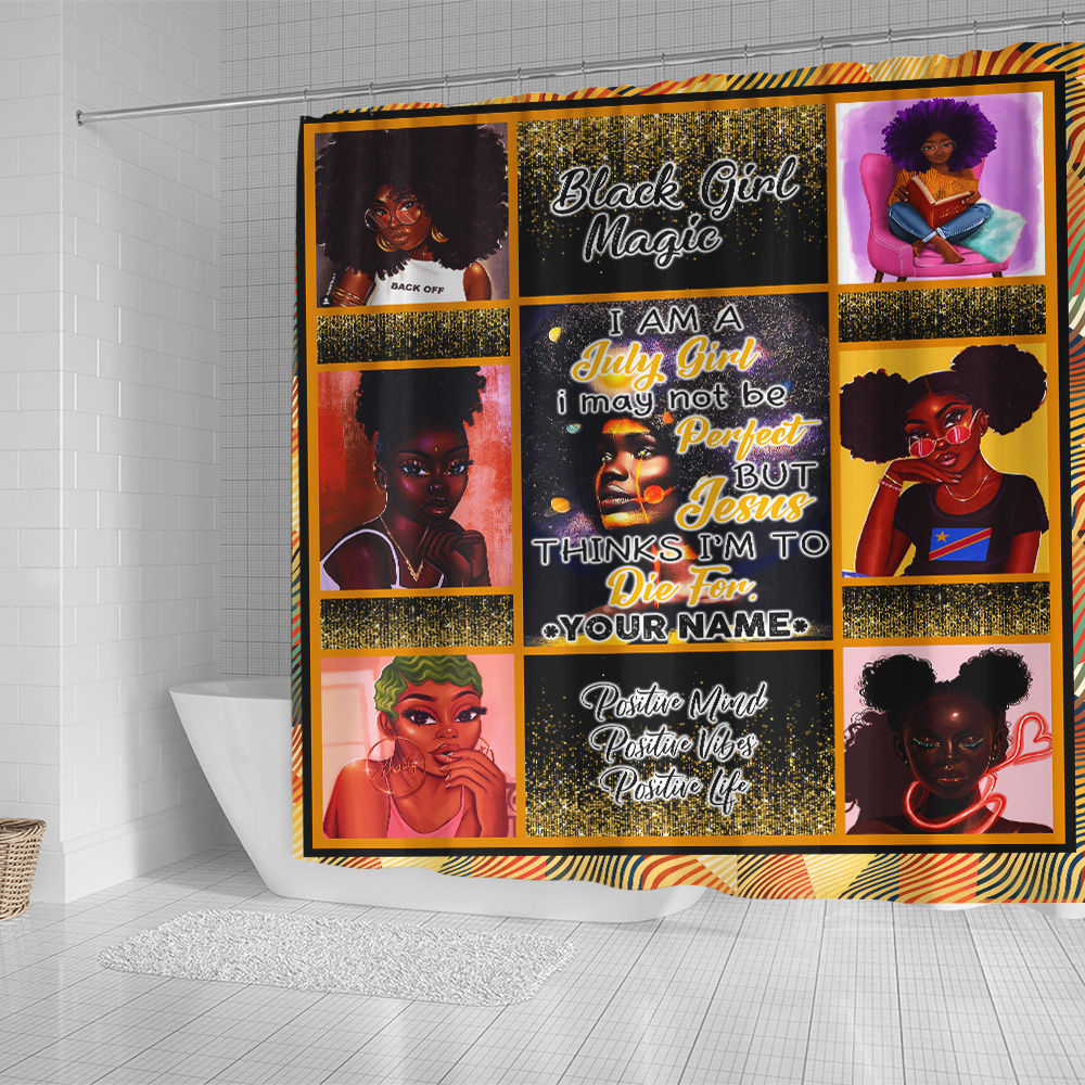 Personalized Shower Curtain July Girl May Not Be Perfect But Jesus Think To Die For Pattern 1 Set 12 Hooks Decorative Bath Modern Bathroom Accessories Machine Washable