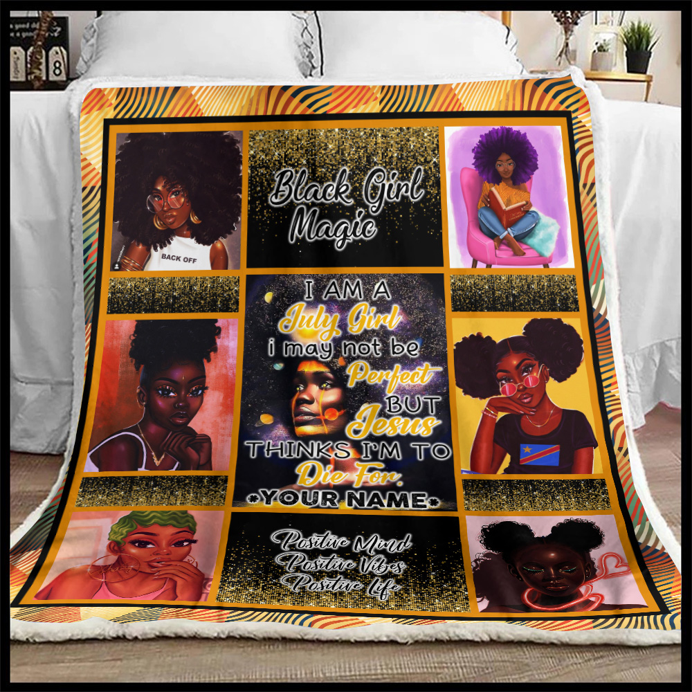 Personalized Fleece Throw Blanket July Girl May Not Be Perfect But Jesus Think To Die For Pattern 1 Lightweight Super Soft Cozy For Decorative Couch Sofa Bed
