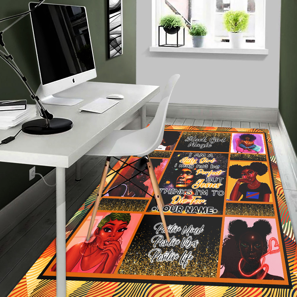 Personalized July Girl May Not Be Perfect But Jesus Think To Die For Pattern 1 Vintage Area Rug Anti-Skid Floor Carpet For Living Room Dinning Room Bedroom Office