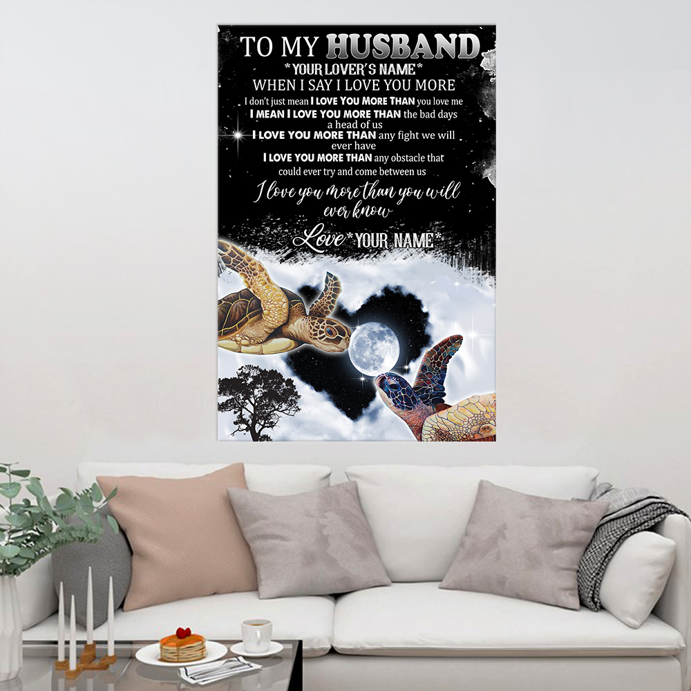 Personalized Wall Art Poster Canvas 1 Panel To My Husband I Love You More Than You Will Ever Know  Pattern 1 Great Idea For Living Home Decorations Birthday Christmas Aniversary