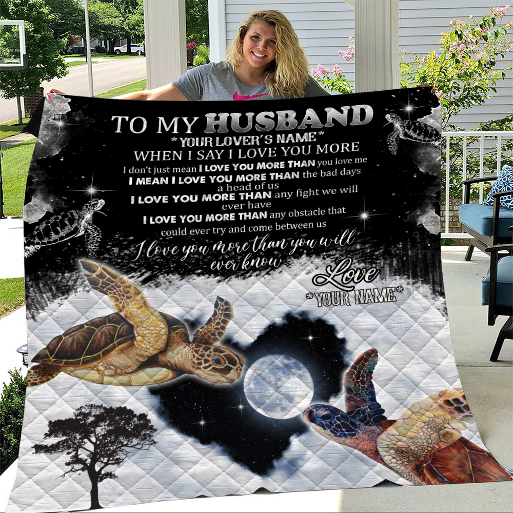 Personalized Quilt Throw Blanket To My Husband I Love You More Than You Will Ever Know  Pattern 1 Lightweight Super Soft Cozy For Decorative Couch Sofa Bed
