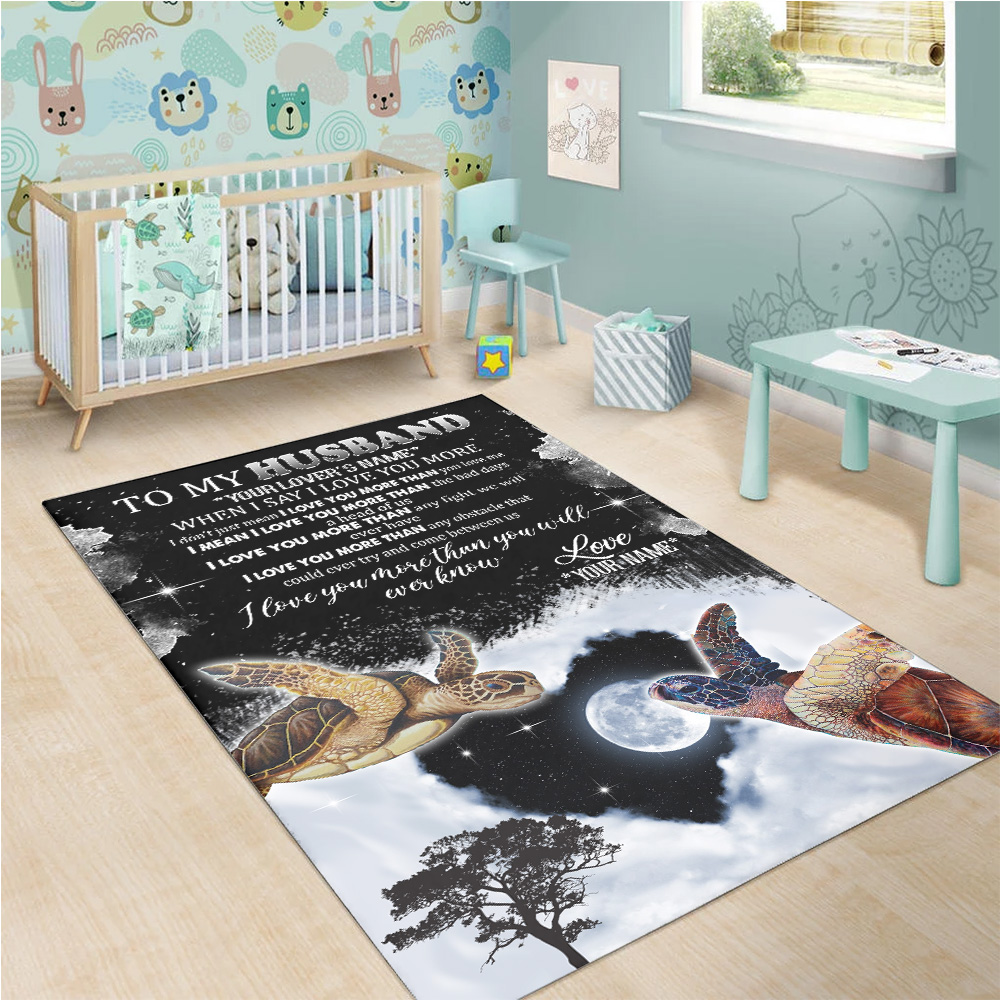 Personalized Floor Area Rugs To My Husband I Love You More Than You Will Ever Know Pattern 1 Indoor Home Decor Carpets Suitable For Children Living Room Bedroom Birthday Christmas Aniversary