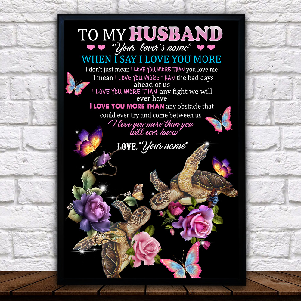 Personalized Wall Art Poster Canvas 1 Panel To My Husband I Love You More Than You Will Ever Know Pattern 2 Great Idea For Living Home Decorations Birthday Christmas Aniversary