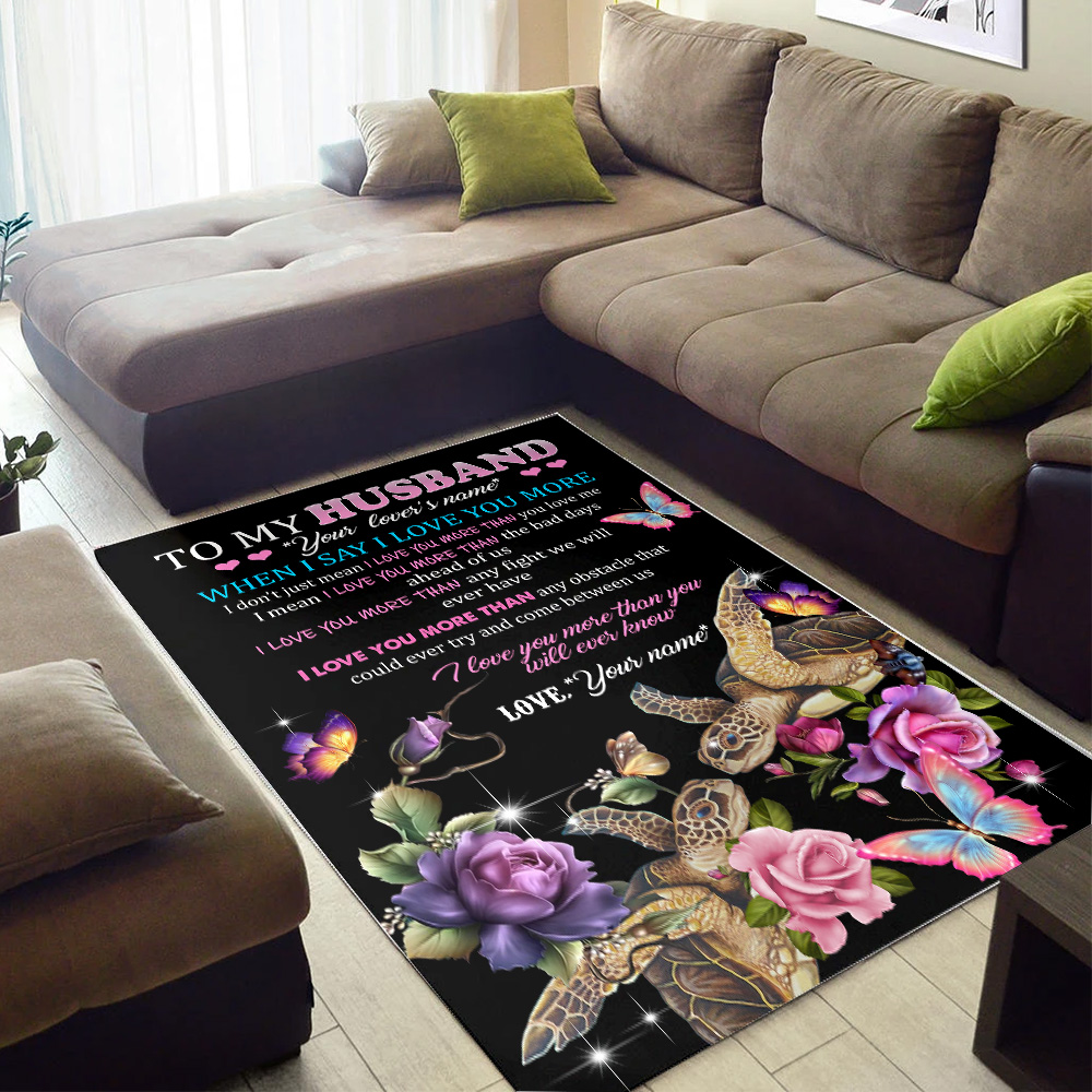 Personalized Floor Area Rugs To My Husband I Love You More Than You Will Ever Know  Pattern 2 Indoor Home Decor Carpets Suitable For Children Living Room Bedroom Birthday Christmas Aniversary