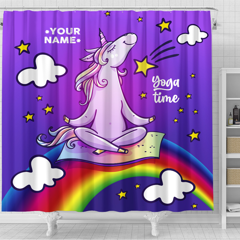 Personalized Shower Curtain 71 X 71 Inch Unicorn Yoga Time Pattern 2 Set 12 Hooks Decorative Bath Modern Bathroom Accessories Machine Washable