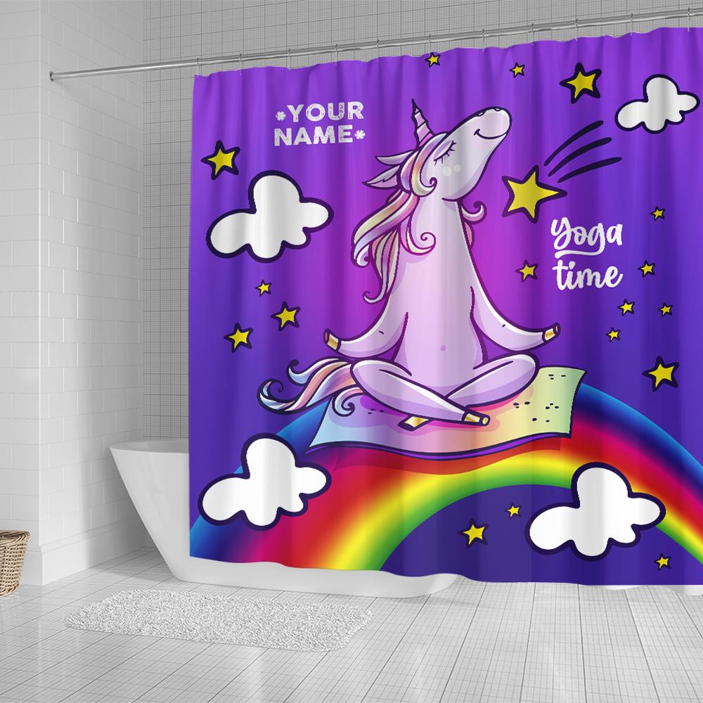 Personalized Shower Curtain 71 X 71 Inch Unicorn Yoga Time Pattern 2 Set 12 Hooks Decorative Bath Modern Bathroom Accessories Machine Washable