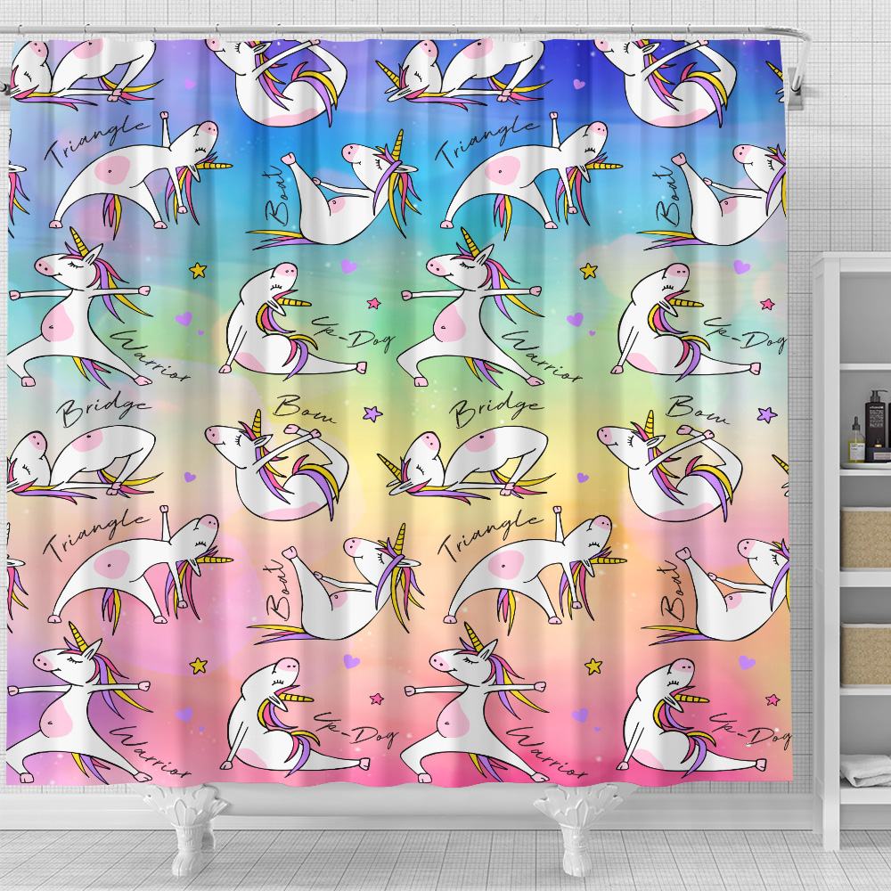 Personalized Shower Curtain 71 X 71 Inch Unicorn Yoga Time Pattern 1 Set 12 Hooks Decorative Bath Modern Bathroom Accessories Machine Washable