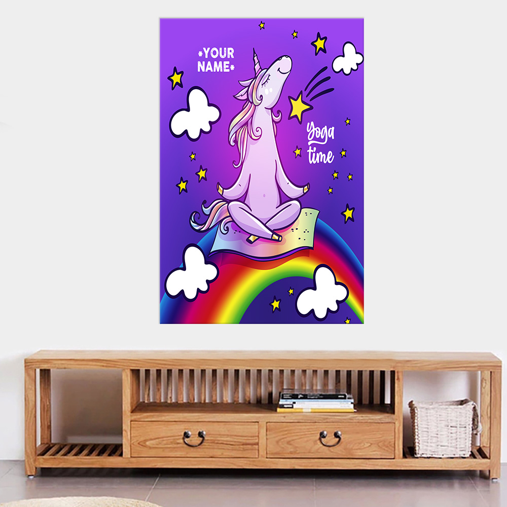 Personalized Wall Art Poster Canvas 1 Panel Unicorn Yoga Time Pattern 2 Great Idea For Living Home Decorations Birthday Christmas Aniversary