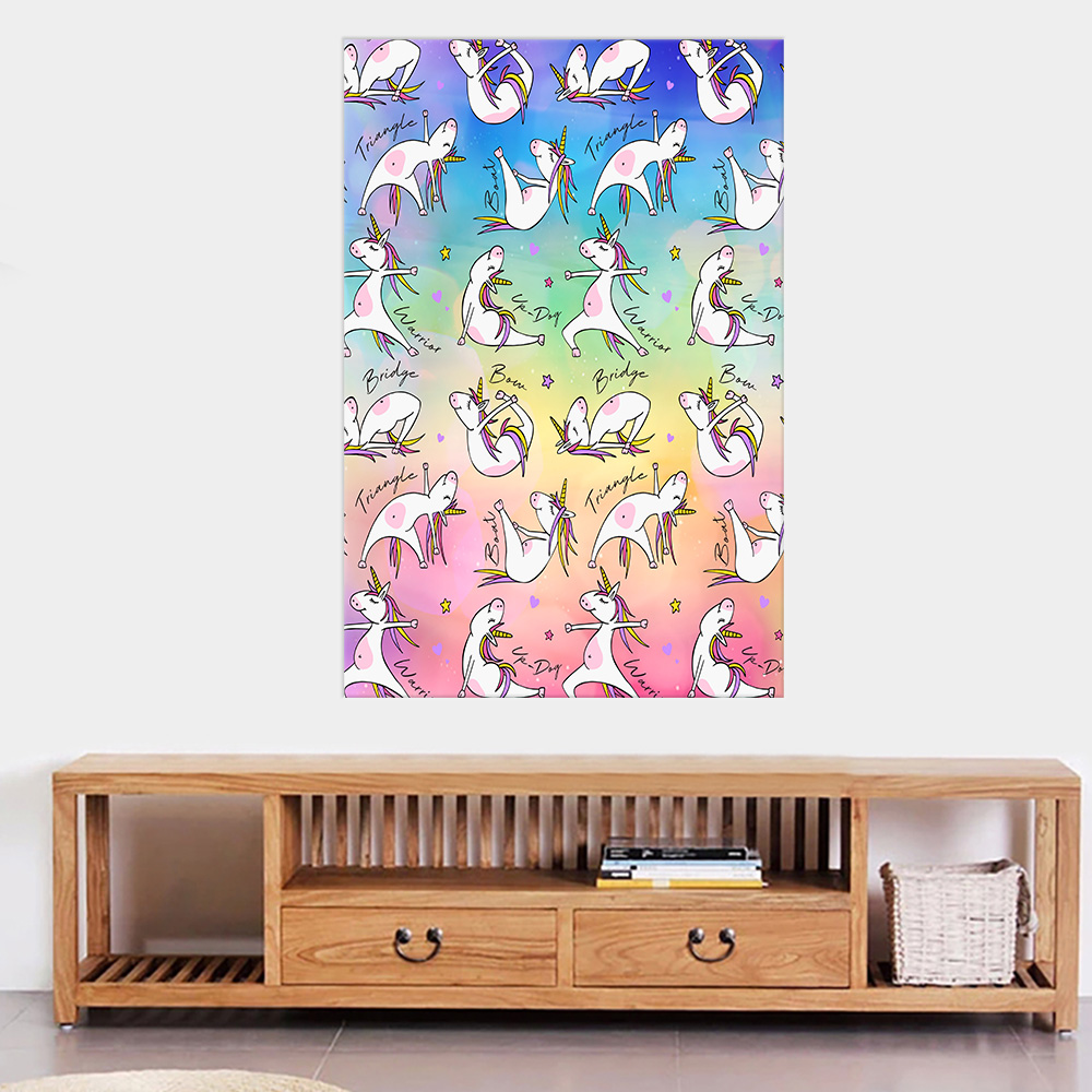 Personalized Wall Art Poster Canvas 1 Panel Unicorn Yoga Time Pattern 1 Great Idea For Living Home Decorations Birthday Christmas Aniversary