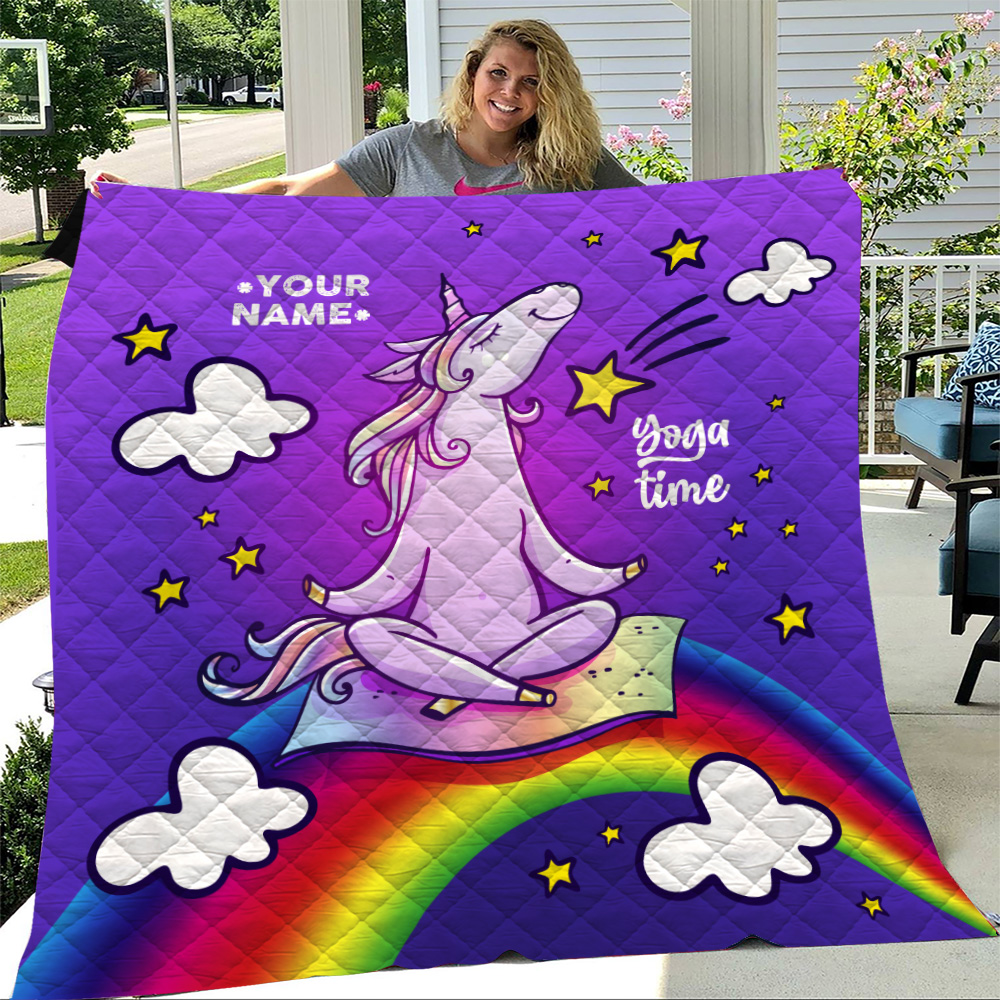 Personalized Quilt Throw Blanket Unicorn Yoga Time Pattern 2 Lightweight Super Soft Cozy For Decorative Couch Sofa Bed