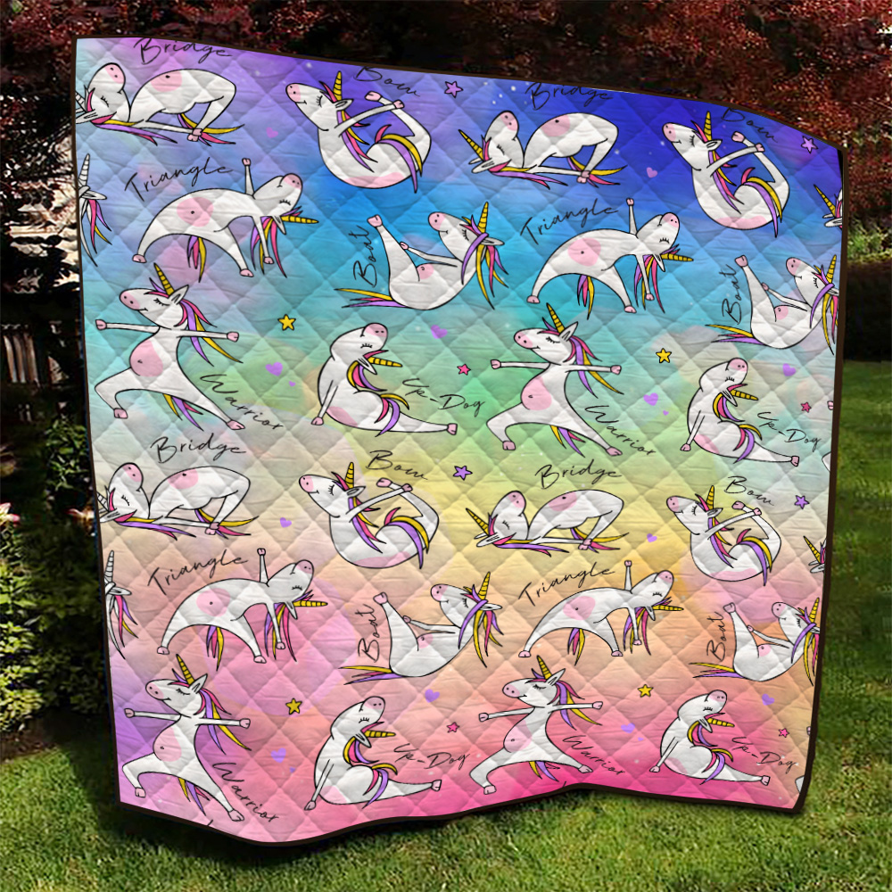 Personalized Quilt Throw Blanket Unicorn Yoga Time Pattern 1 Lightweight Super Soft Cozy For Decorative Couch Sofa Bed